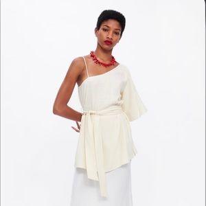 Zara Asymmetrical Linen-Blend Belted Top